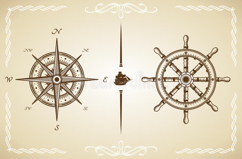 Vector Vintage Compass and Rudder.  royalty free illustration