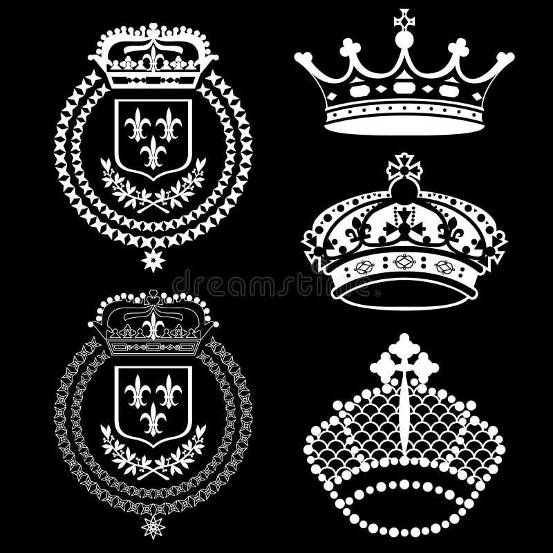 Vector vintage crowns set stock photos