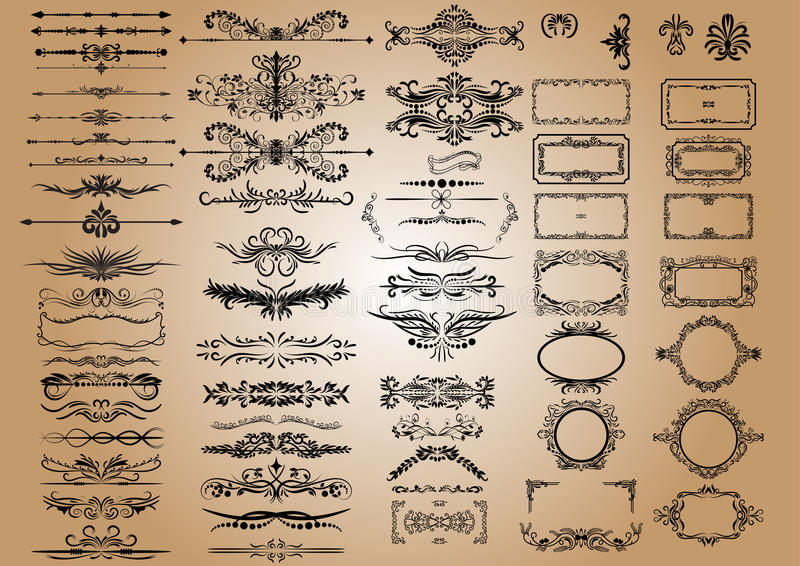 Vector Vintage Decorations Elements. Flourishes Calligraphic Ornaments and Frames. retro Style Design Collection.  royalty free illustration