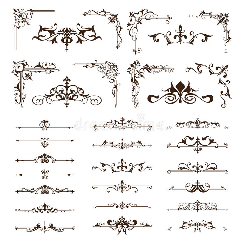 Vector vintage design elements borders frames ornaments corners stock illustration