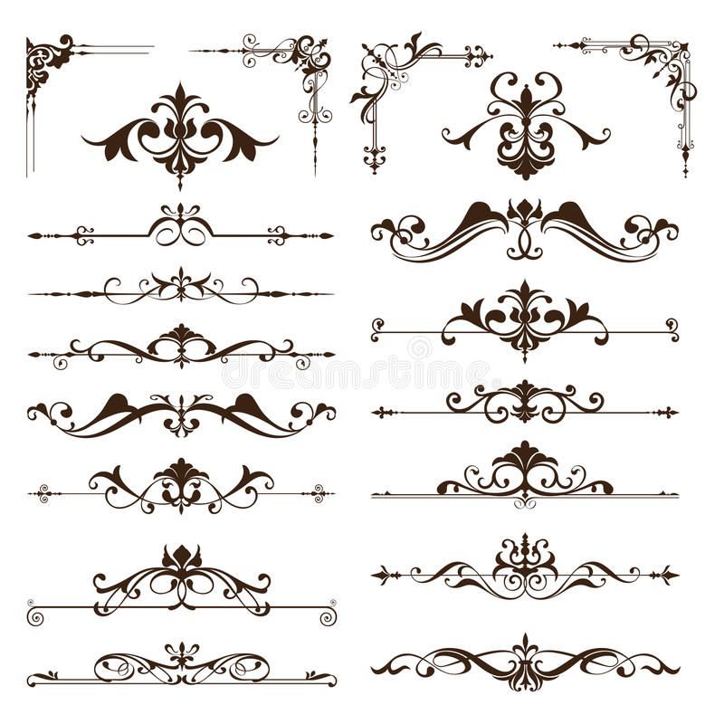 Vector vintage design elements set of ornaments. Art deco curlicues frames borders dividers corners Graphics on a white background royalty free illustration