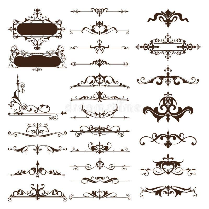 Vector vintage design elements set of ornaments. Art deco curlicues frames borders dividers corners Graphics on a white background vector illustration