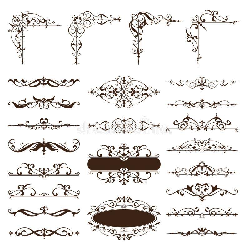 Vector vintage design elements set of ornaments. Vintage design elements ornaments Art deco curlicues frames borders dividers corners Graphics on a white vector illustration