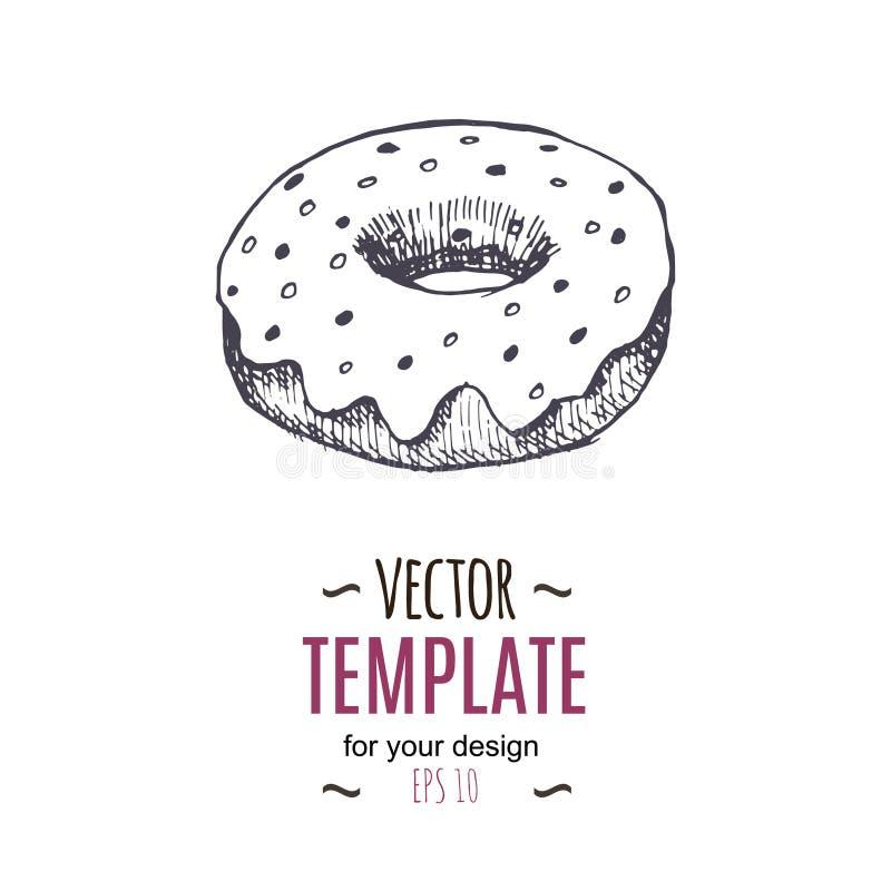 Vector vintage Donut drawing. Hand drawn monochrome fast food illustration. royalty free illustration