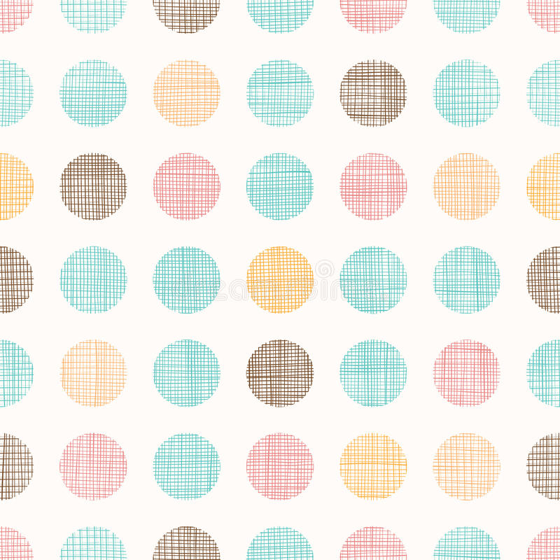 Vector Vintage Dots Circles Seamless Pattern Background With Fabric Texture. Perfect for nursery, birthday, circus or vector illustration