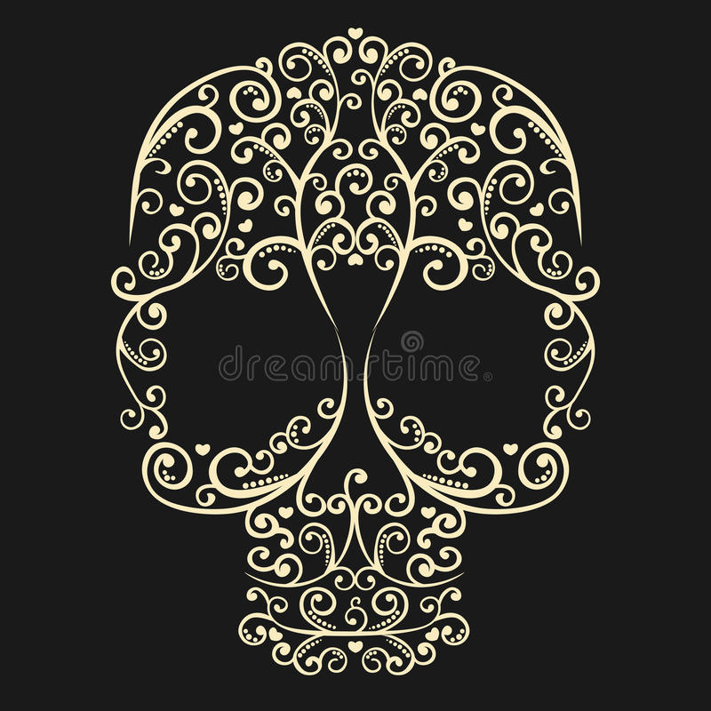 Vector vintage drawing skull with curls and hearts royalty free stock image