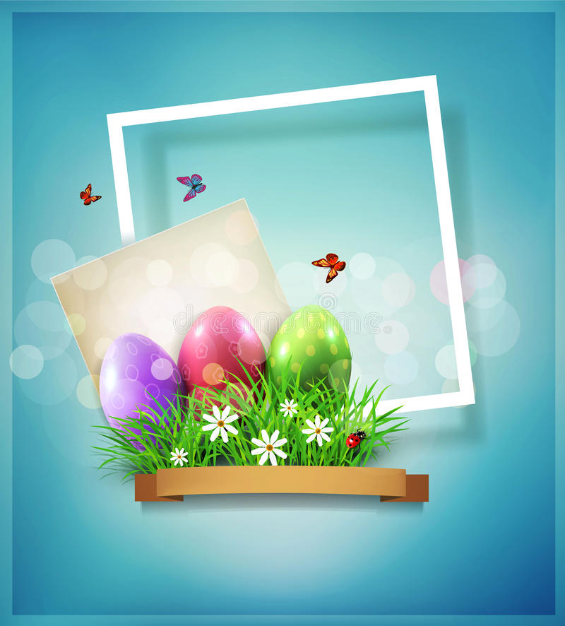 Vector vintage element for design. Easter eggs in green grass wi royalty free illustration
