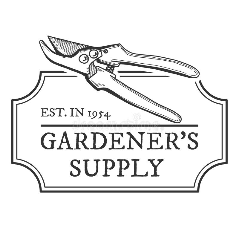Download Gardeners Supply Emblem Stock Vector. Illustration Of Secateurs    109143206