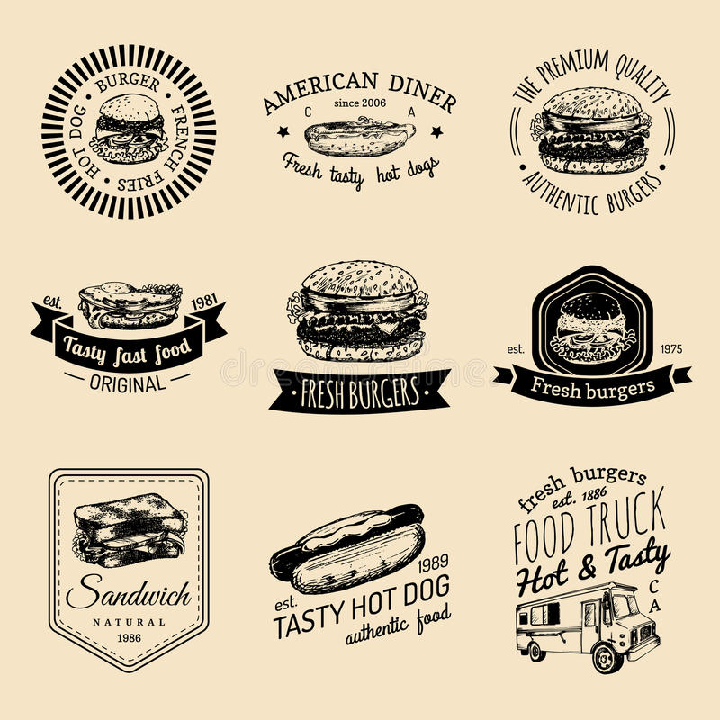 Vector vintage fast food logo set. Retro quick meal signs collection. Bistro, snack bar, street restaurant, diner icons. Vector vintage fast food logo set vector illustration