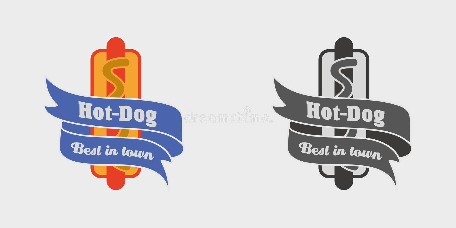 Vector vintage fast food logo, sign, label or badge with tasty hot dog. Monochrome and color royalty free illustration