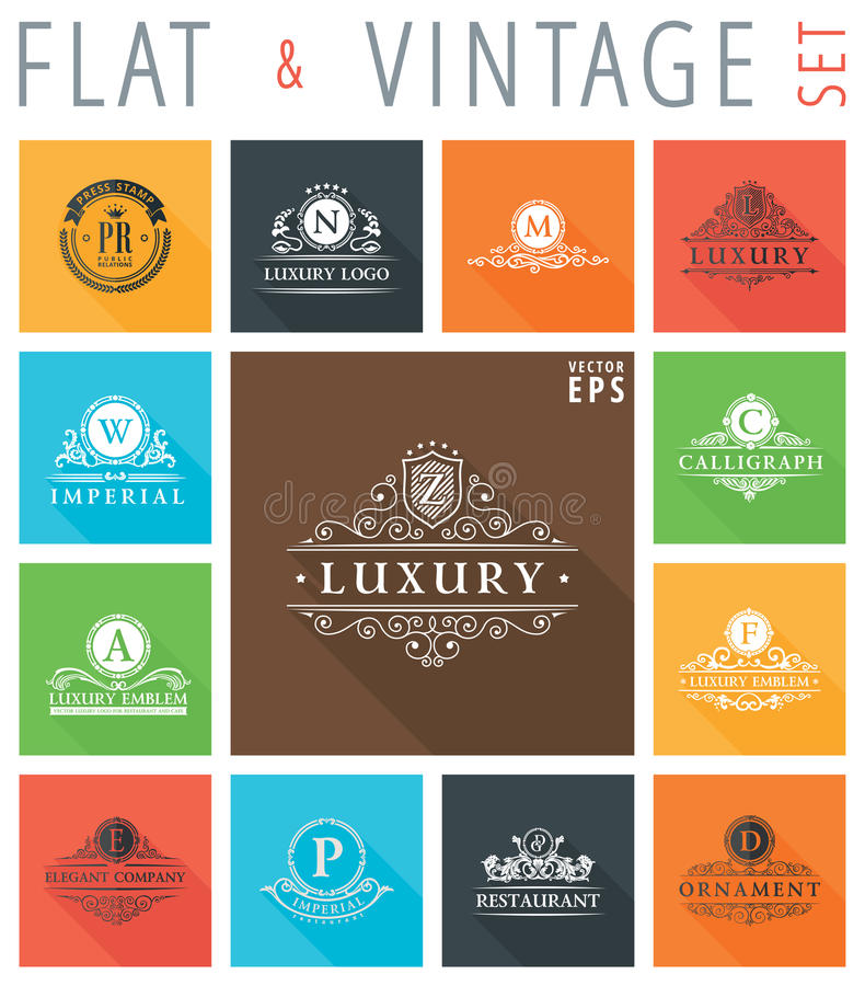 Vector vintage flat elements icons collection vector illustration