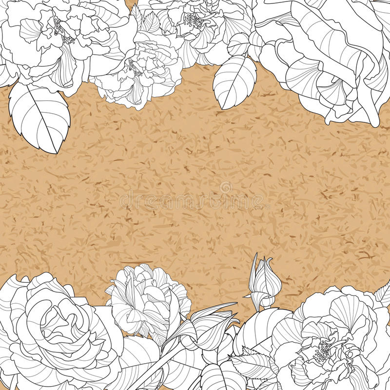 Vector vintage floral background with hand drawn roses flowers and craft paper. stock illustration