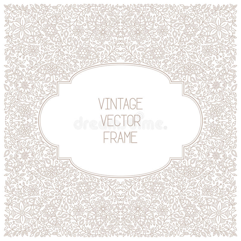 Vector vintage floral frame on white background in mono thin line style stock illustration