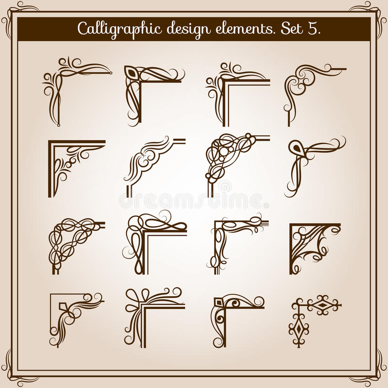 Free Vector Vintage Floral Page Frame Ornament Corners. Retro Flourish Angled Accent Design Elements Stock Images - 87653754