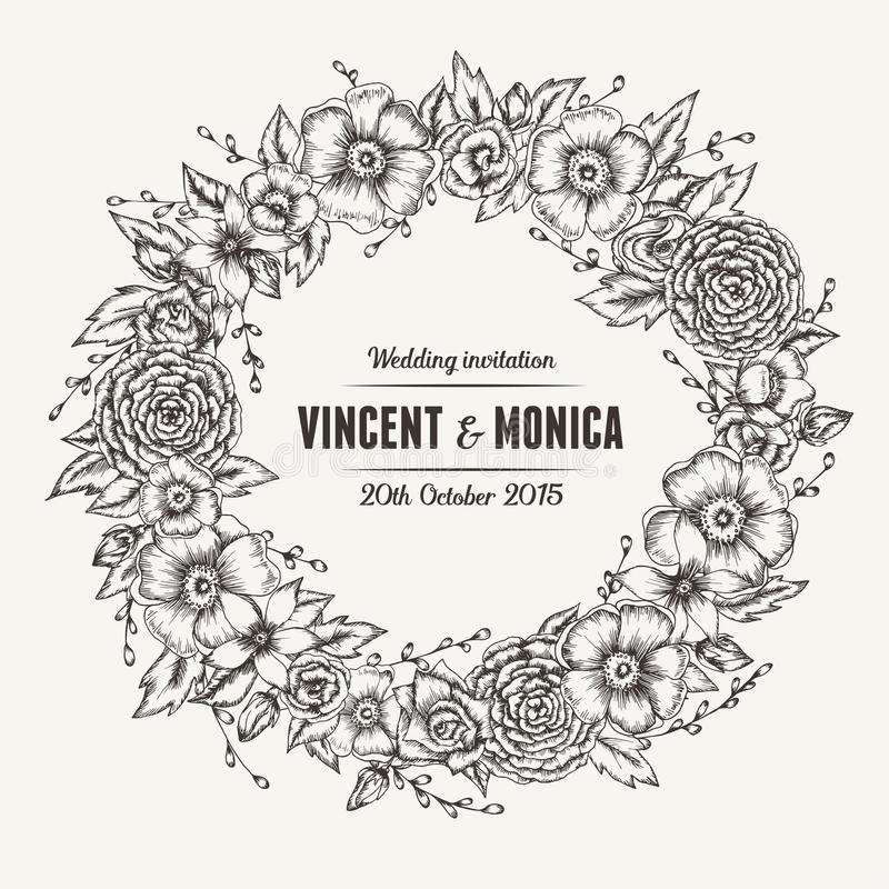 Free Vector Vintage Floral Wedding Invitation Stock Images - 56829144