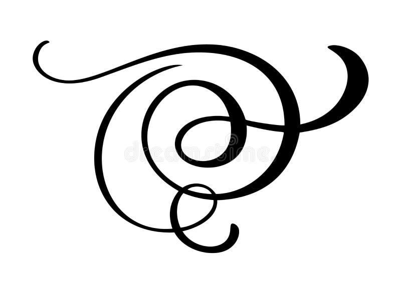 Vector vintage flourish corner, swirl decorative ornaments. Floral lines filigree design element. Flourish curl element royalty free illustration