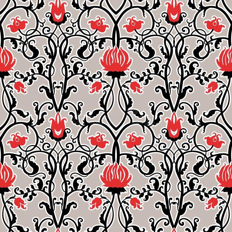 Vector vintage flowers pattern. retro seamless texture stock illustration