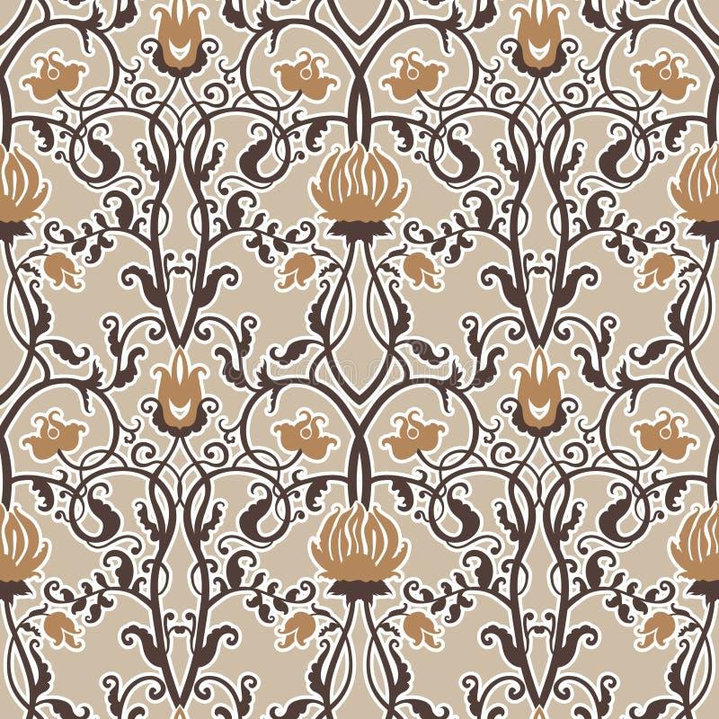 Vector vintage flowers pattern. retro seamless texture royalty free illustration