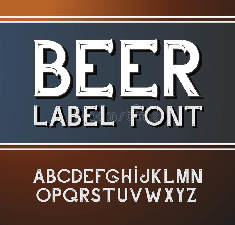 Vector vintage font. Beer label style royalty free illustration