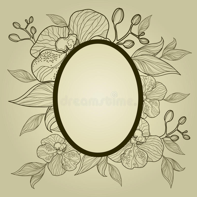 Download Vector Vintage Frame With Flowers - Orchid Stock Vector - Image: 20328706