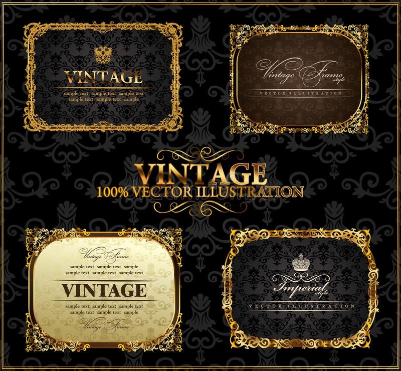 Download Vector Vintage Gold Frames Decor Label Stock Vector - Image: 17311382
