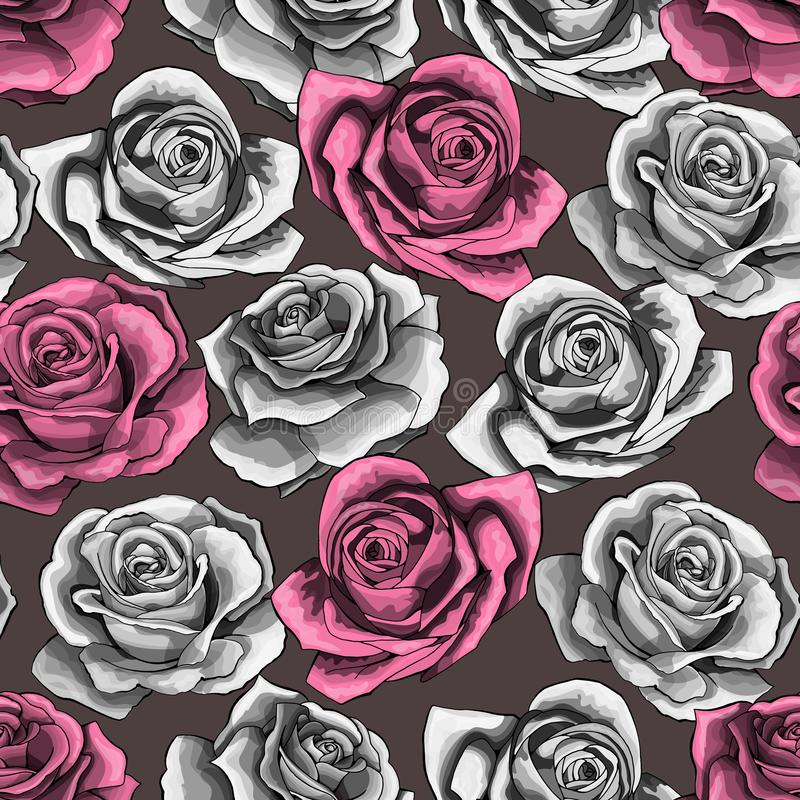 Vector vintage hand drawn rose flower blossom blooming seamless pattern stock illustration