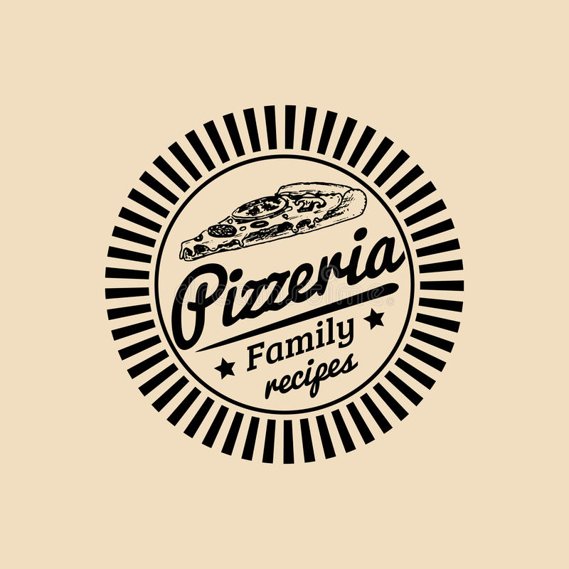 Vector vintage hipster italian food logo. Modern pizza sign. Hand drawn mediterranean cuisine illustration. stock illustration