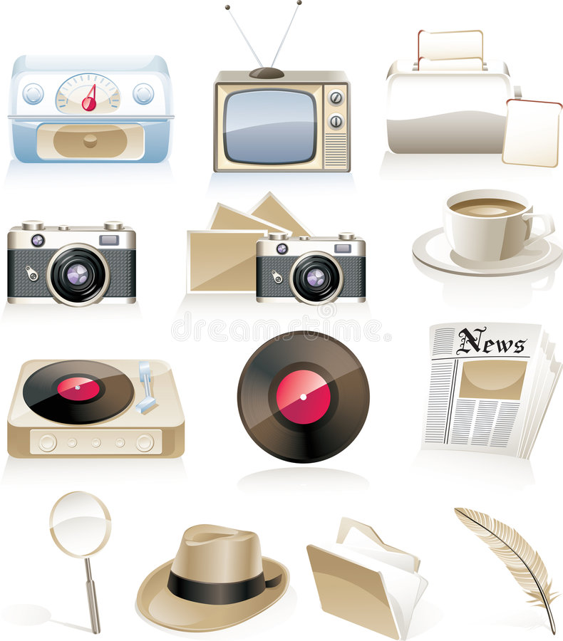 Download Vector vintage icon set stock vector. Image of antique - 8518753