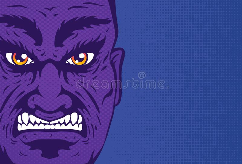 Retro angry man portrait in comics style royalty free illustration