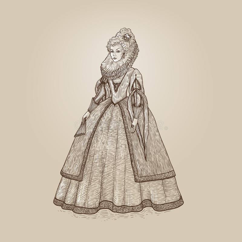 Vector vintage illustration. Gentlewoman Elizabethan epoch 16th century. Medieval lady in a rich dress with large collar vector illustration