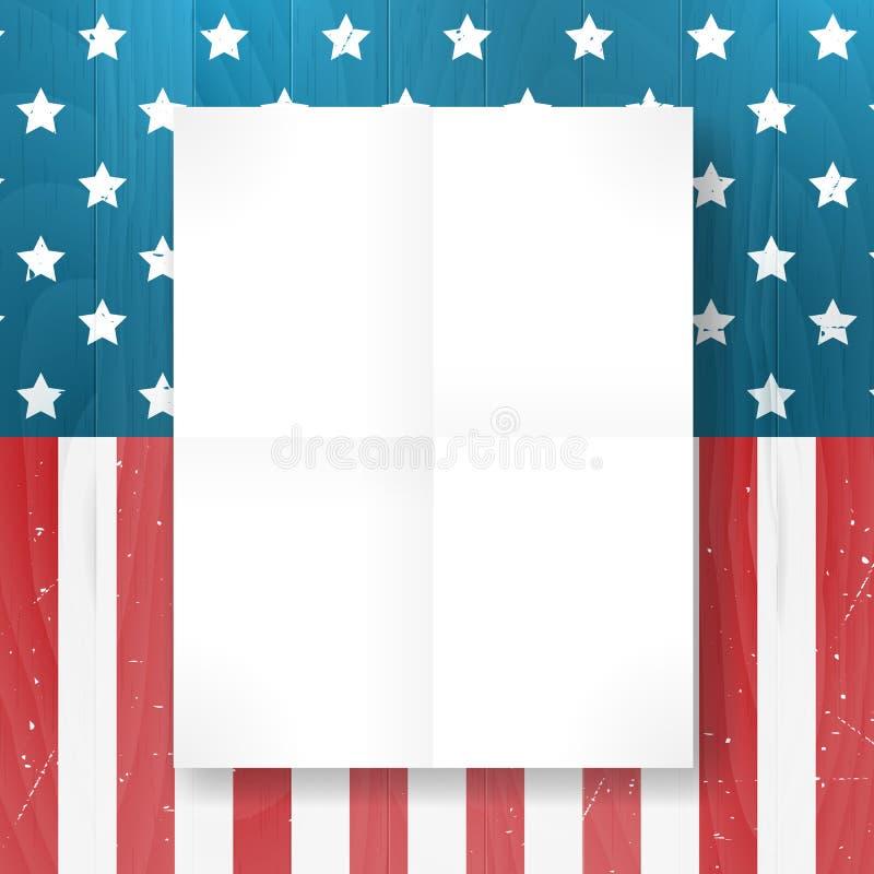 Vector vintage independência a bandeira americana do 4 de julho no fundo de madeira ilustração stock