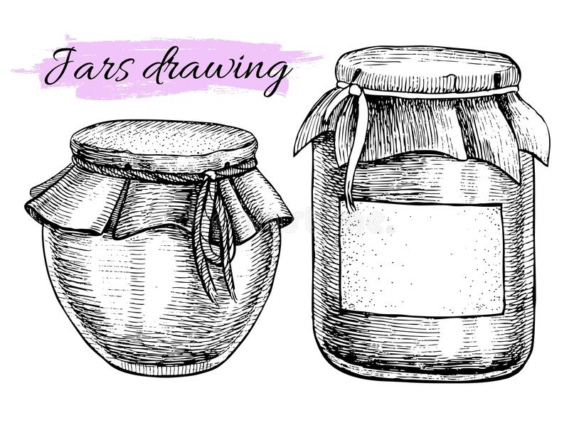 Vector vintage jar set. Hand drawn illustrations. stock illustration