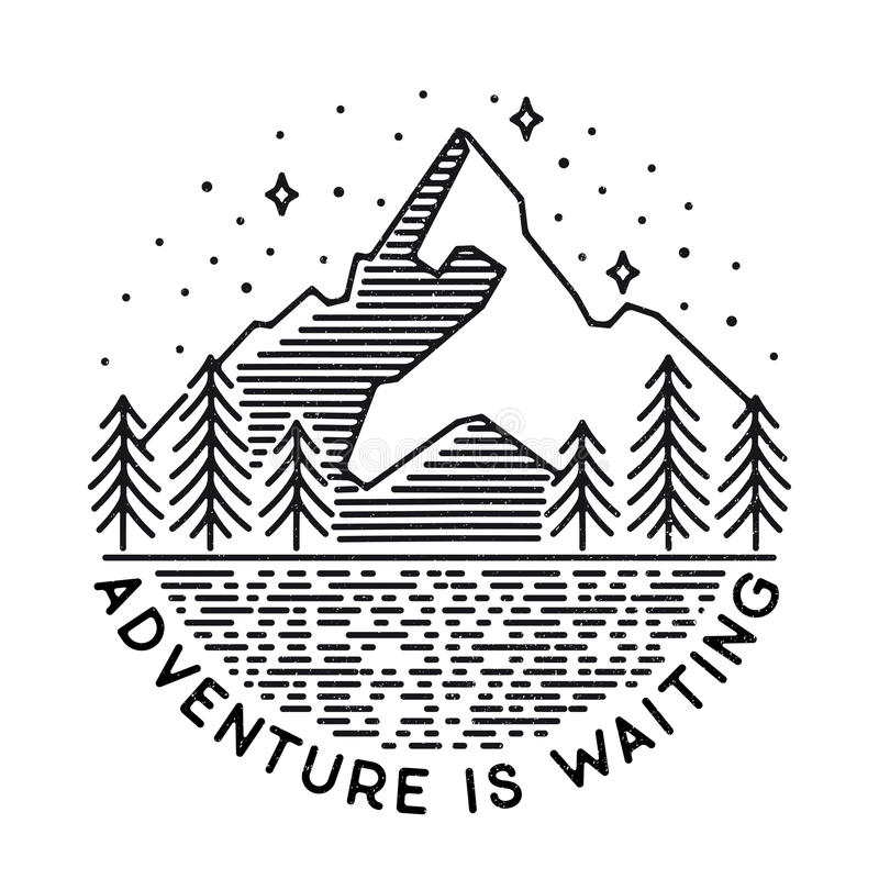 Vector vintage landscape with mountain peaks end graphic element. S. Adventure is waiting. Motivational and inspirational typography poster with quote. Line royalty free illustration