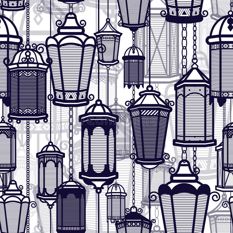 Vector vintage lantern seamless pattern. Classic antique light. Ancient retro lamp design. Traditional silhouette. Old vector illustration