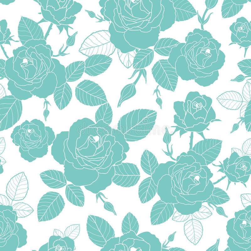 Download Vector Vintage Light Blue And White Roses Leaves Seamless Repeat Pattern Great For