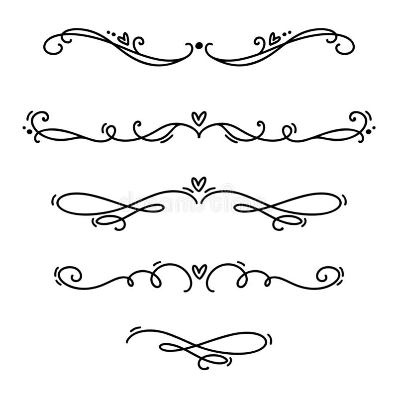 Free Vector Vintage Line Elegant Valentine Dividers And Separators, Swirls And Corners Decorative Ornaments. Floral Lines Filigree Royalty Free Stock Photography - 136792667