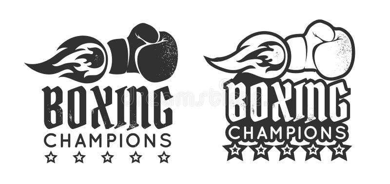 Boxing glove with flame. Vector vintage logo for a boxing with glove and fire. Boxing glove with flame. Vintage sport emblem royalty free illustration