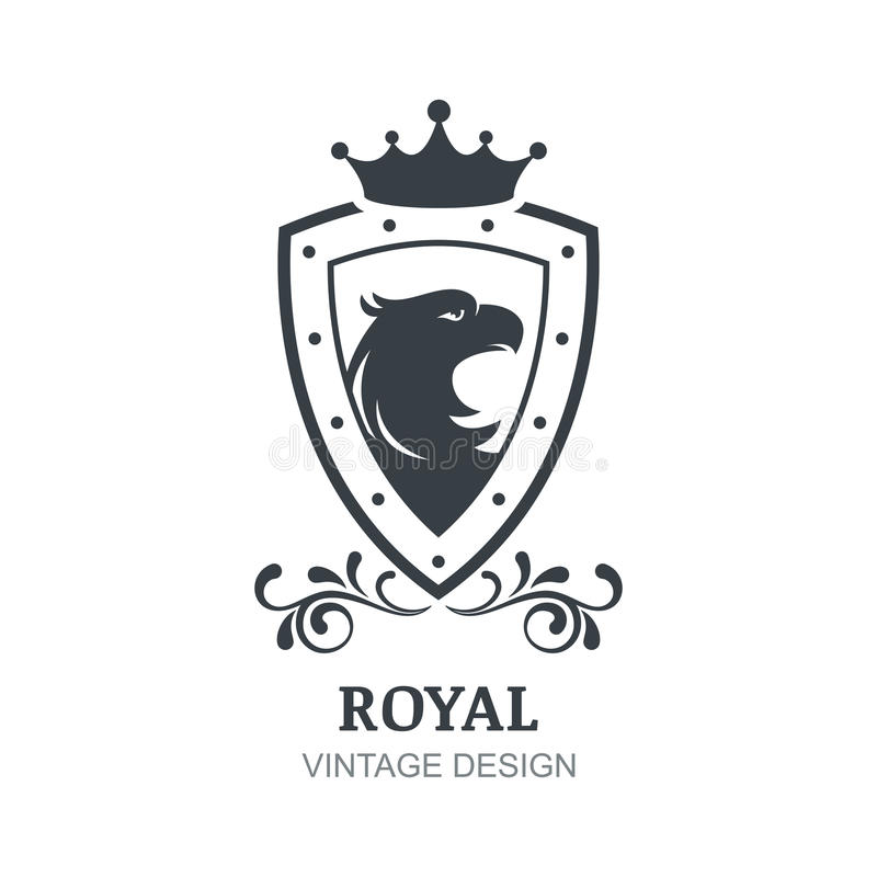 Vector Vintage Logo Design Template. Eagle, Crown, Shield And La ...