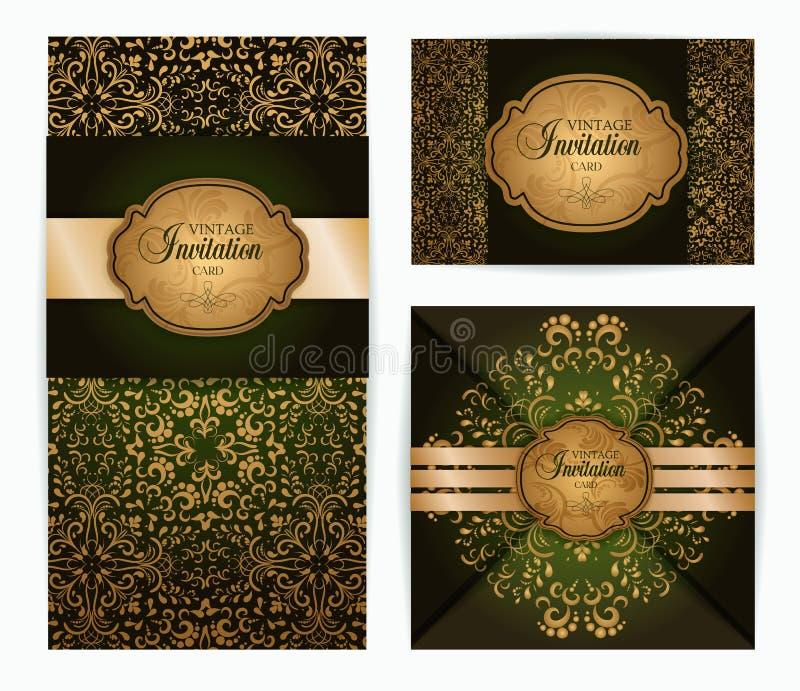 Vector vintage luxury baroque damask style invitation, greeting card design stock illustration