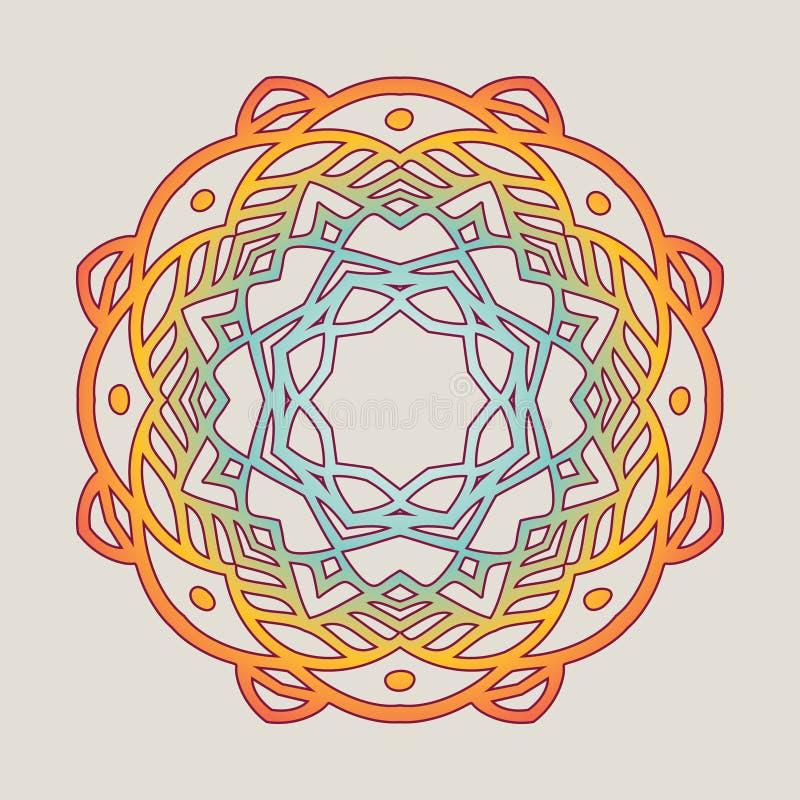 Vector vintage Mandala sign frame. Vintage decorative elements. Oriental pattern royalty free illustration