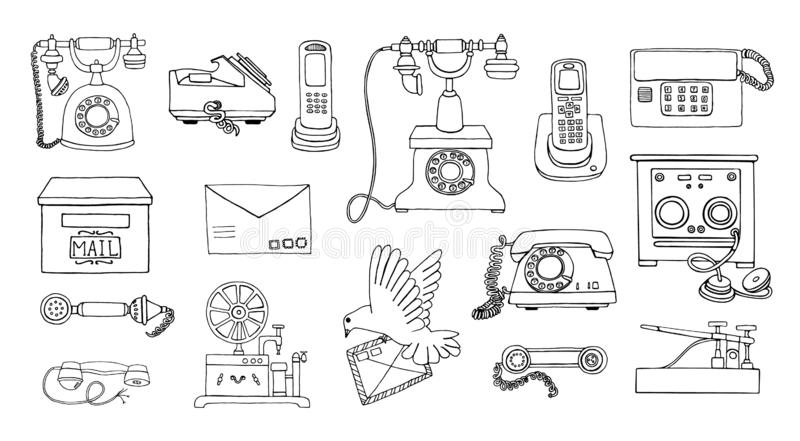 Vector vintage means of communication line drawing set. Retro black and white collection of wired rotary dial telephone, radio royalty free illustration