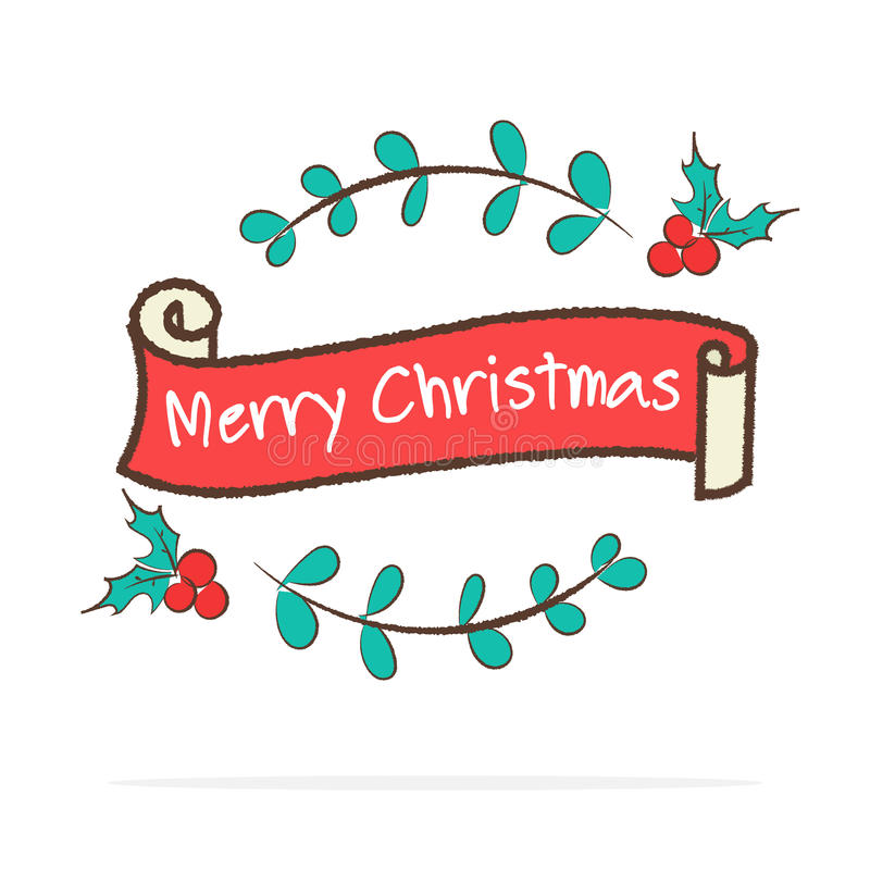 Download Vector Vintage Merry Christmas Ribbon Banner In Doodle Style O Stock