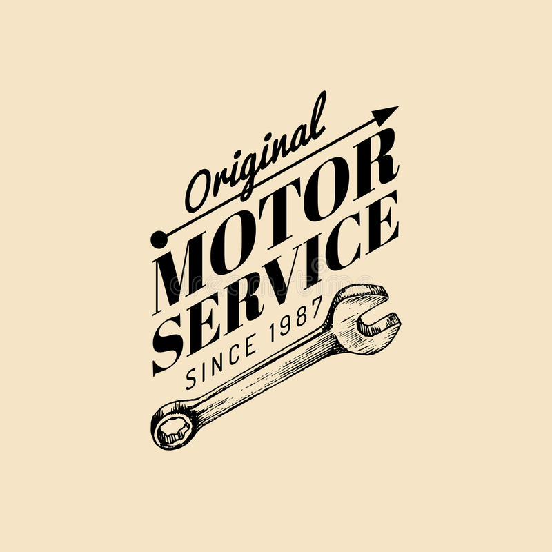 Download Vector Vintage Motorcycle Repair Logo Retro Garage Label With Hand Sketched Wrench Custom