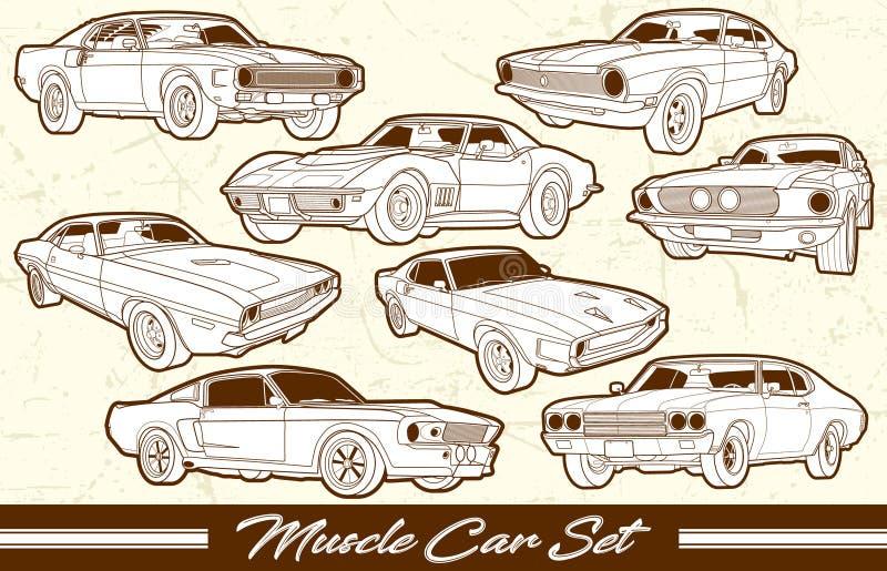 Vector Vintage Muscle Car Set stock photos