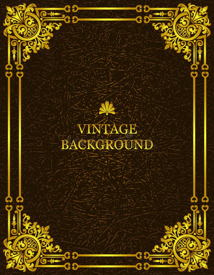 Vector vintage old background with royal gold pattern frame as a template to create book covers. Mockup, illustration. royalty free illustration