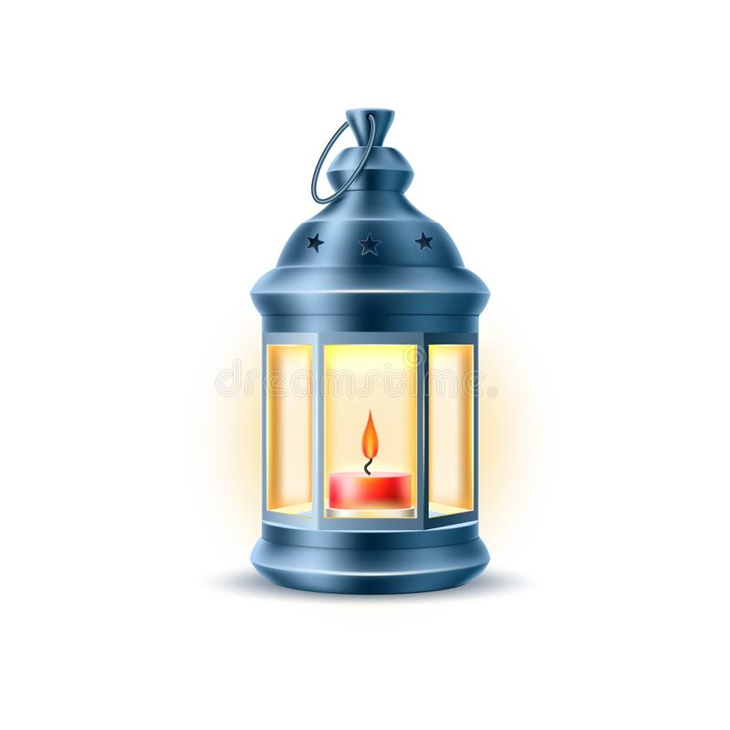 Vector vintage old lantern, lamp with candle royalty free illustration