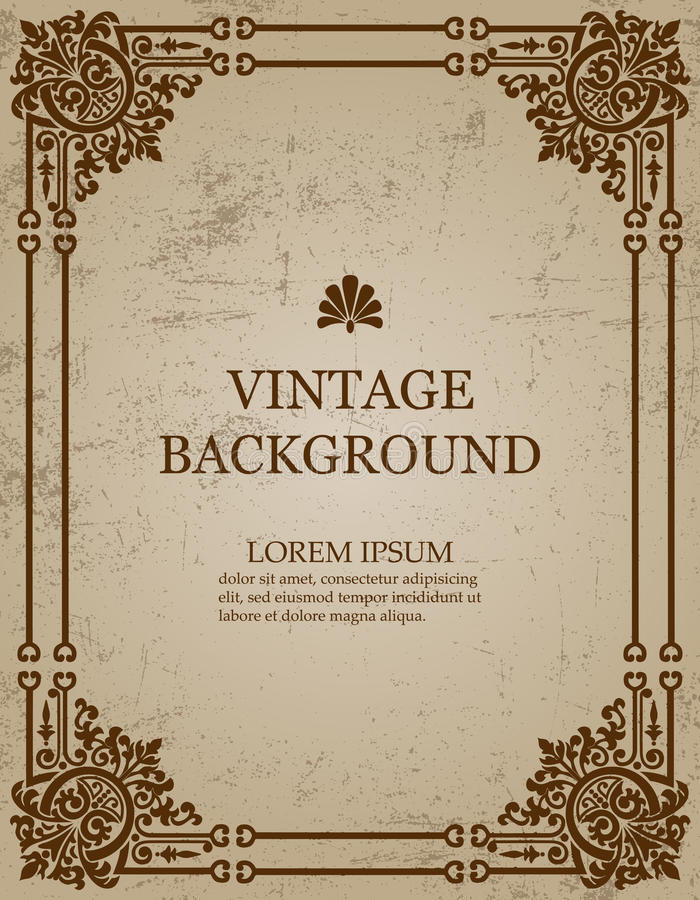 Vector vintage old paper background with royal pattern frame as a template to create book covers. vector illustration