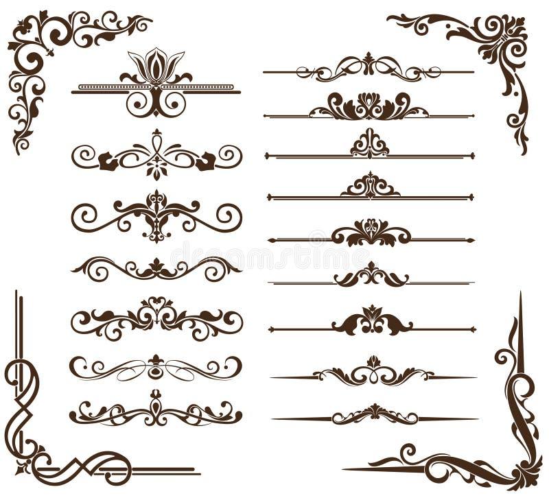 Vector vintage ornaments, corners, borders royalty free illustration