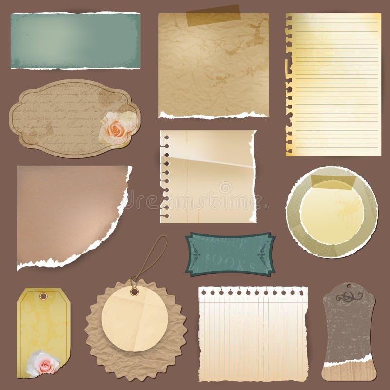 Vector vintage torn paper and labels set vector illustration
