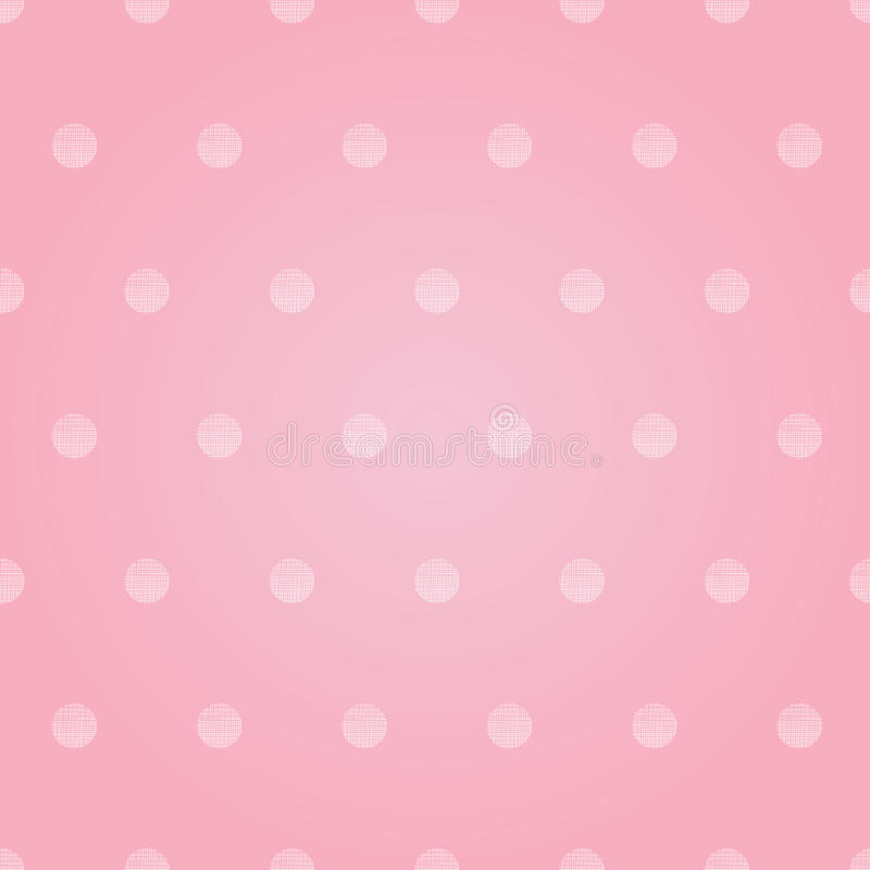 Vector Vintage Pastel Pink Baby Girl Polka Dots Circles Seamless Pattern Background With Fabric Texture. Perfect for vector illustration